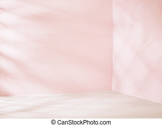Small empty room in pink tone