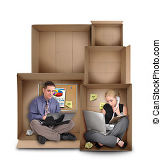 Small Entrepreneur People Working in Box - Two business...