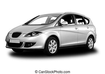 Family Car - Small Family Car Isolated on White