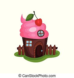 Small fancy house in shape of cupcake or ice-cream. Home...