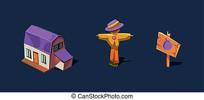 Small farm house and scarecrow, mobile game user interface GUI element for video computer games vector Illustration