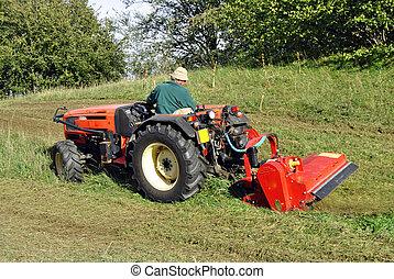 tractor - Small farm tractor bush hogging on a grass field ...