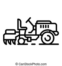 Small farm tractor icon, outline style