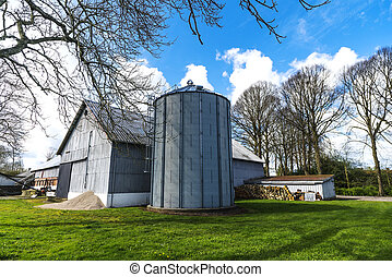 Small farm with a large silo