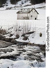 small farmhouse in alps