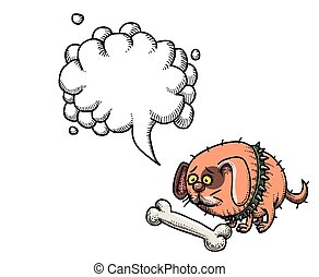 Cartoon image of small fat dog. An artistic freehand picture. With speech bubble.
