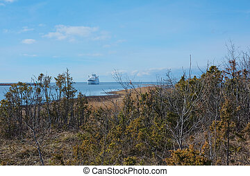 Small ferry in the cold Baltic sea