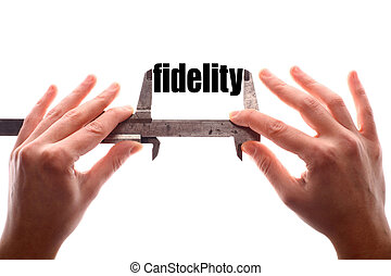 Small fidelity concept - Color horizontal shot of two hands...