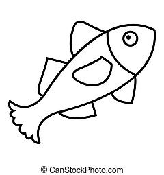 Small fish icon, outline style