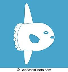 Small fish icon white
