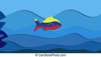 small fish in color flag Venezuela and lenders huge...