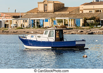 Small Fishing Boat in Marzamemi Sicily Italy