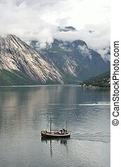 Small Fishing boat in Norway  Fjord