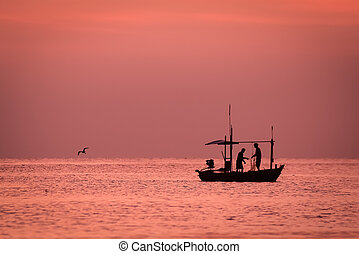 small fishing boat in the sea