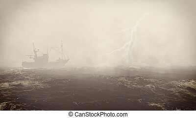 Small fishing boat in the stormy sea