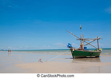 small fishing boat on the beach