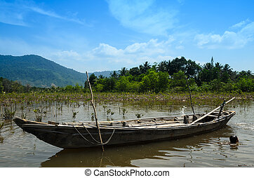 Small fishing boat to the mangrove