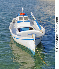 small fishing boat,  turquoise sea, Greece