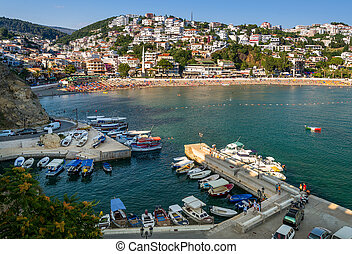 Small fishing boats marina. Ulcinj, Montenegro.