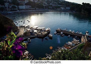 Small fishing boats marina with round pier