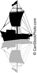 Small fishing ship silhouette