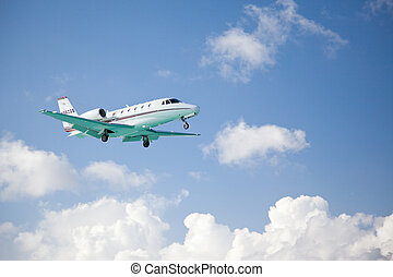 Small fixed wing plane taking off