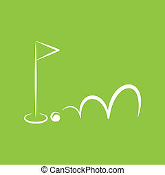 small flag on green background