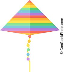 Small flying rainbow colorful fish kite fun wind summer toy flat vector illustration.