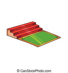 Small football stadium icon, cartoon style