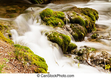 Small forest cascade horizontal shot, Krka national park, Croatia