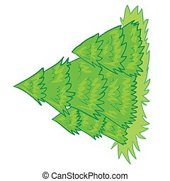 small forest of green Christmas trees, isolated object on a white background, vector illustration,