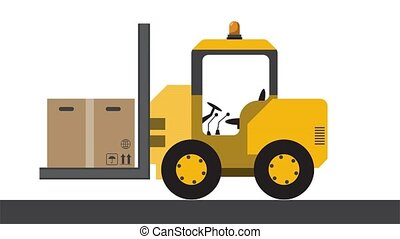 Small forklift carries a cardboard box. Empty space for your...