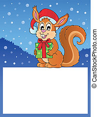 Small frame with Christmas squirrel