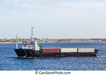 Small Freighter in Channel