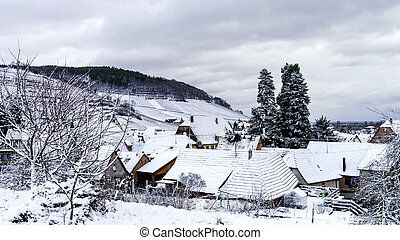 Small french village over the snow