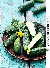 cucumbers in a ceramic plate