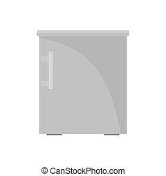 Small fridge icon, flat style