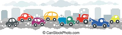Small funny cars on the urban city road background