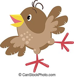 Small funny sparrow - Children vector illustration of small...