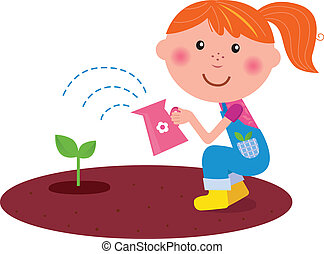 Small gardener girl watering plant - Cute smiling girl with ...
