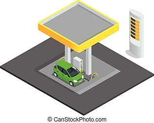 Small gas station. Gas petroleum petrol refill station cars....