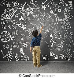 Small genius - Concept of small genius with kid and varius ...