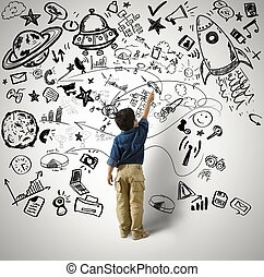 Small genius - Concept of small genius with kid and varius...