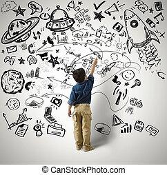 Small genius - Concept of small genius with kid and varius...