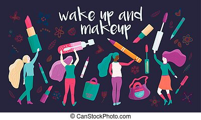 Small girl chacacters with cosmetics. Vector. - Small girl...