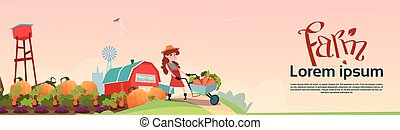 Small Girl Farmers Daughter Hold Trolley With Vegetables...