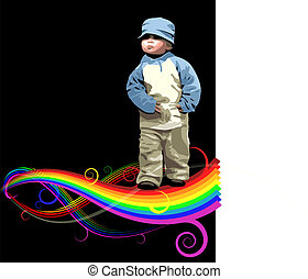 Small girl on the rainbow