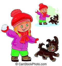 Small girl playing snowballs