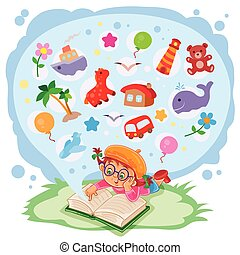Small girl reading a book and dreams of adventures
