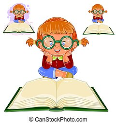 Small girl reading a book - Vector illustration of small...